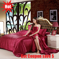 Euro style solid color hot sale duvet cover set silk like quality bedding set 3 or 4pcs bed sheet pillowcase duvet cover sets