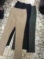 Alta Qualidade New Arrival 3 Cores Mulheres Laçadas Calças de Algodão Cáqui Verde Preto Designer De Calça