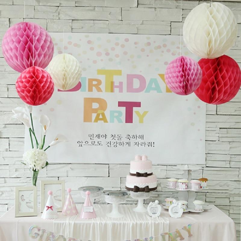 5pcs 5/10/15/20cm Tissue Paper Hanging Lantern Honeycomb Balls Flower Pastel Festival Wedding Birthday Party Decorations