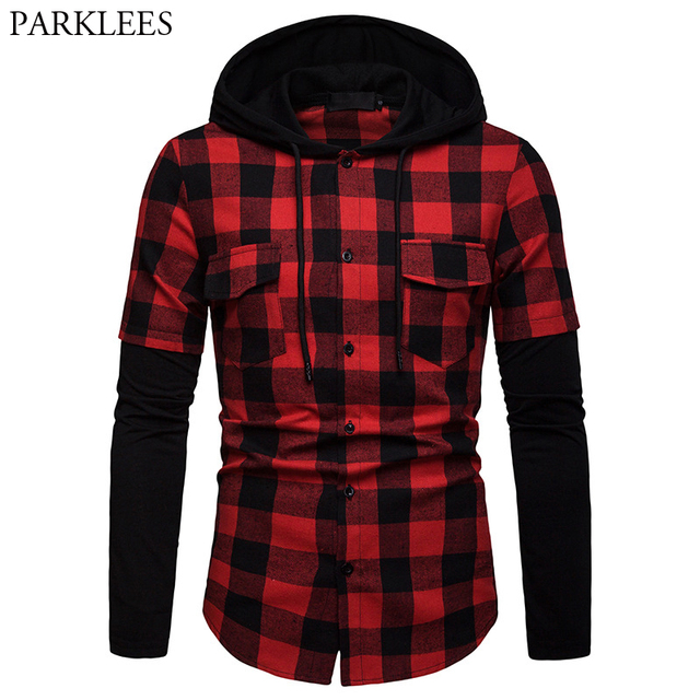 Mens Red Black Hooded Plaid Shirt Fake Two Piece Male Patchwork Shirts With Chest Pocket Buffalo Long Sleeve Check Chemise Homme