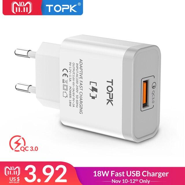 TOPK Charge Rapide 3.0 Mobile Téléphone Chargeur 18 w Rapide USB Chargeur UE Plug Mur USB Chargeur Adaptateur pour iPhone samsung Xiaomi LG