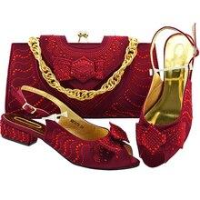 Комплект из туфель и сумочки в итальянском стиле, для вечерние в Для женщин последний Для женщин сумки в итальянском и Африканском вечерние туфли-лодочки комплект из обуви и сумки, украшенные Стразы