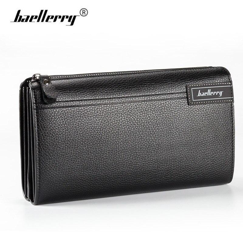 Baellerry Men's Wallet Business Zipper Clutch Card Wallet Genuine Leather Long Purse Phone Bag Huge Capacity Design Money Wallet