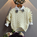 Girls Sweater Children's Clothing 2016 Winter Knitting Christmas red pompom sleeve Cartoon Child Baby Boy Girls Sweater