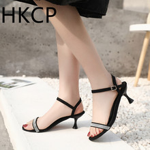 HKCP Fashion New 2019 summer strappy sandals for women with sequins black stiletto heels and sexy fashion sandals C240 stylish women s sandals with flowers and black colour design