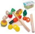 Дети Деревянная Кухня Игрушки Красочные Притворяться Игрушки Развивающие Вырезать Игрушки для Детей Сократить Фруктов Овощей с Высоким Qulity