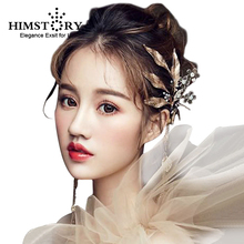 Himstory Handmade Accessories Vintage Gold Leaf Flower Hairclips Wedding Crystal Hairpins Bridal Headpiece Hair