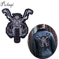 Pulaqi тонкой большой панк череп значки мотоцикл Вышитые утюг на патчи большой байкер патчи для Костюмы пальто аксессуары H