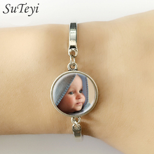 SUTEYI Personalized Custom Golden Bracelet Photo Of Your Baby Mum Of The Child Grandpa Parent Well-Beloved For The Family Gift(China)