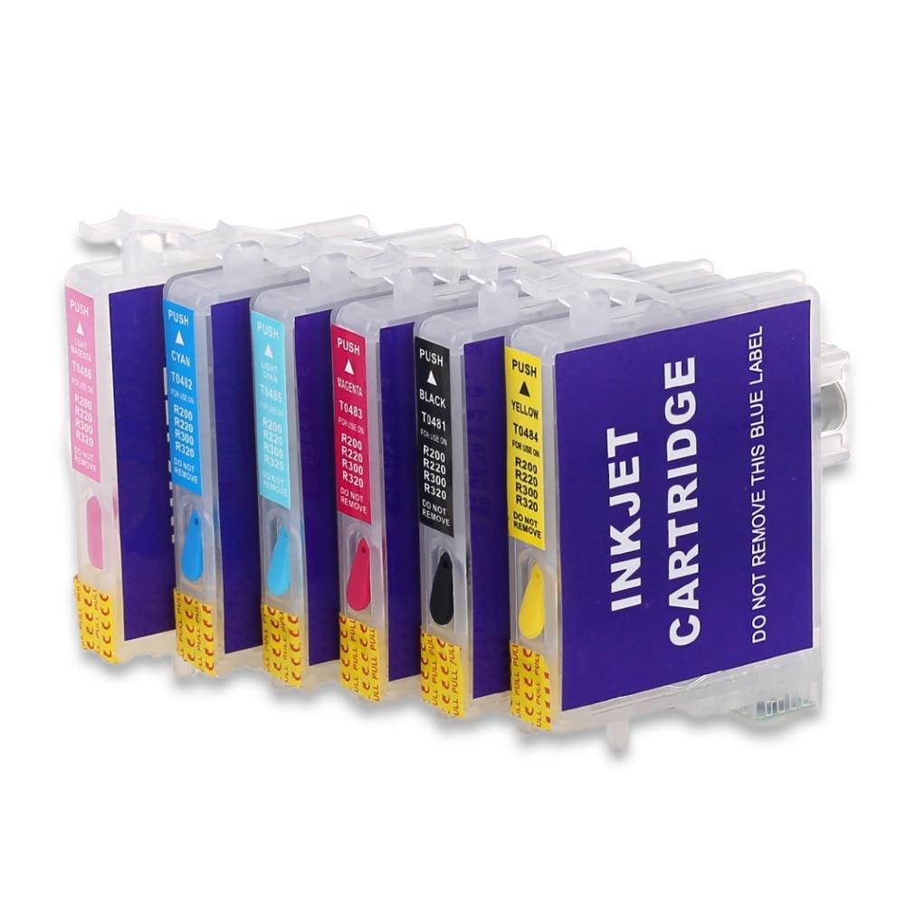 6 шт T0481 перезаправляемый картридж для epson STYLUS PHOTO R200 R220 R300 R300M R320 R340 RX500 RX600 RX620 RX640 принтер