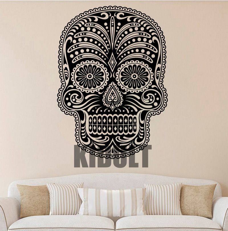 skull decals vinyl wall stickers creative personality patterns plane home decoration halloween wall bar backdrop wallpaper