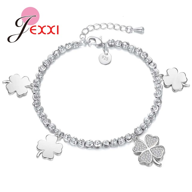 JEXXI Best Quality Four Petals Design Charms Bracelets For Women Girls Party  Wedding Solid 925 Sterling Silver Wrist Accessories 6e74673312f0