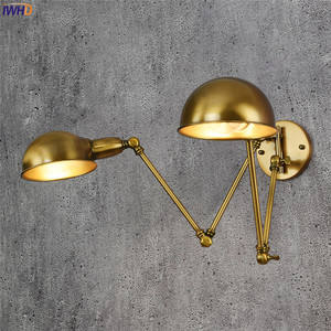 Image 3 - Iwhd lâmpada de parede ajustável, vintage, 2 cabeças, lâmpada retrô, loft, luz de parede industrial, edison, sconce, luminária