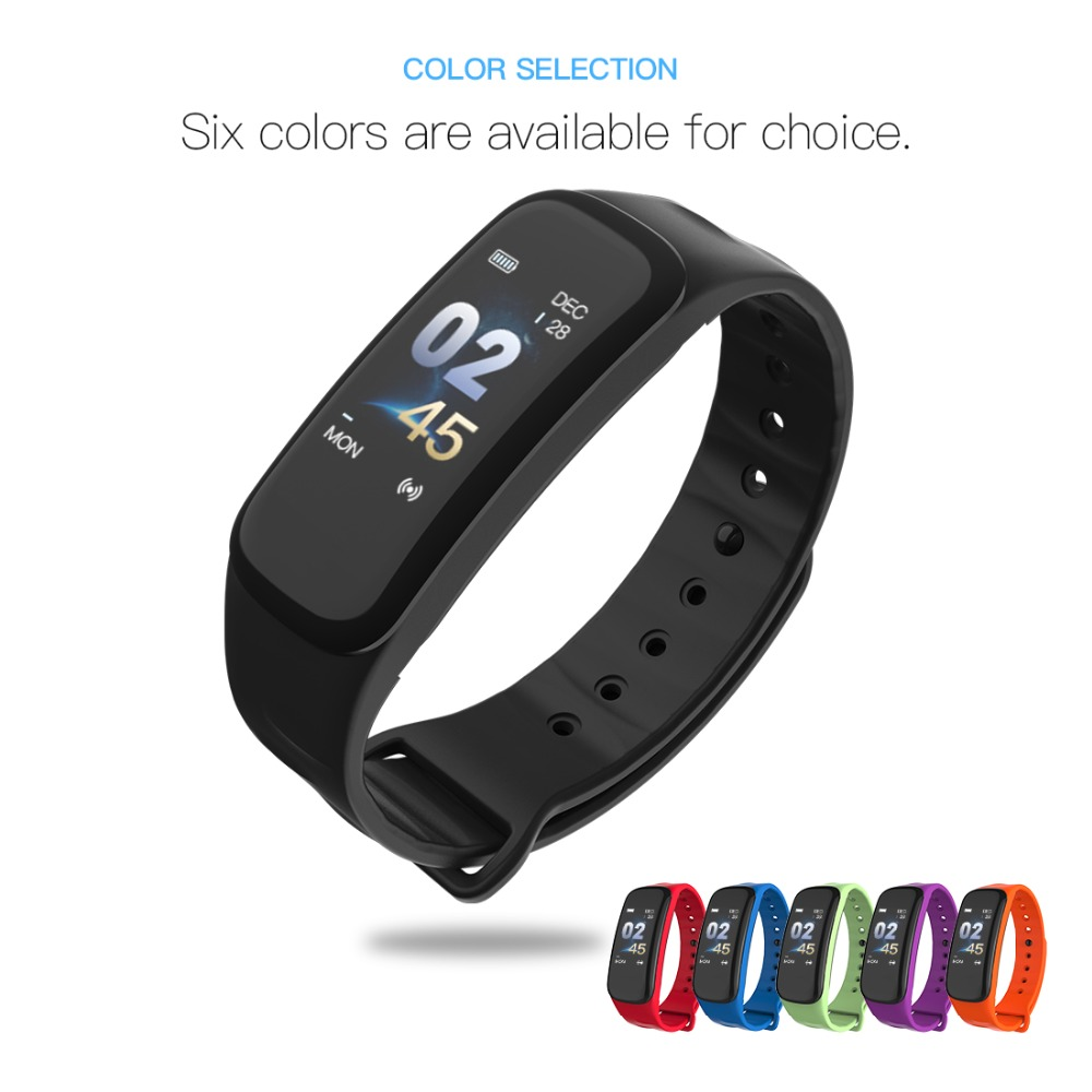 Lerbyee C1Plus Smart Bracelet Color Screen Blood Pressure Fitness Tracker Heart Rate Monitor Smart Band Sport for Android IOS 5