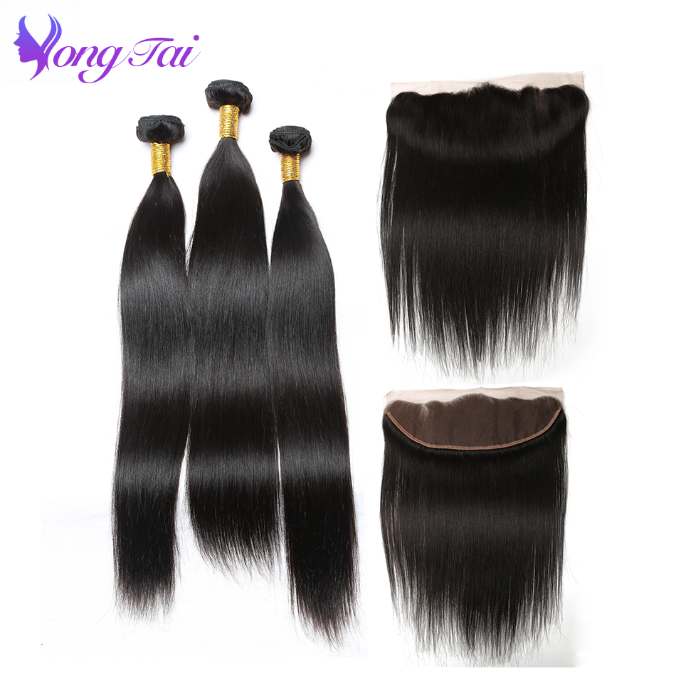 Yongtai Hair Peruvian Hair Bundles With Closure Straight Hair Bundles With Closure 100% Remy Human Hair 3 Bundles Free Shipping