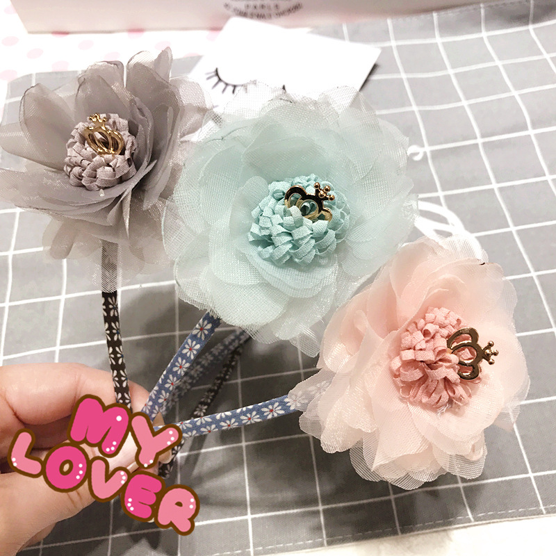 Korea Hair Accessories lovely Flower Crown Hair Band Chiffon Headband For Girls Hair Bow Princess 4