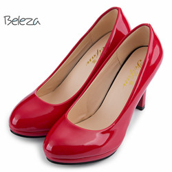 Beleza spring fall casual women office pumps elegant ladies solid shallow mouth round toe patent leather.jpg 250x250