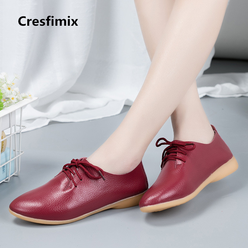 Cresfimix women fashion new comfortable lace up flat shoes lady cute spring & autumn pointed toe shoes female cool shoes a2144 casual shoes women office ladies shoes lady cute bow tie pointed toe flats female cute spring