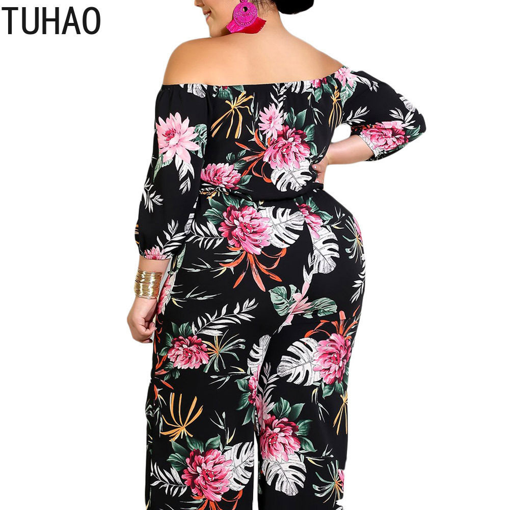 239dd482e81 TUHAO Autumn PLUS SIZE 5XL 4XL Jumpsuits Fashion Women Bohemian Jumpsuit  Evening Party Floral Long Pants Jumpsuits Overalls DLM-in Jumpsuits from  Women s ...