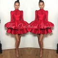 Red Taffeta 8th Grade Prom Dresses 2017 High Neck Long Sleeve Short Homecoming Party Dress Puffy Skirt Graduation Cocktail Gowns