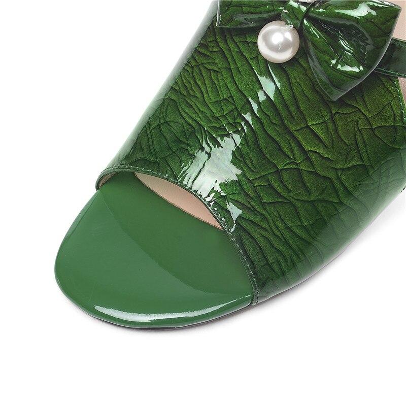 De Sliver green Señoras Mujeres 2019 Casuales Genuino Tacón Cuero Asumer Alto Superficial Verano Sandalias Nuevas Las Zapatos Para 0qaxqPTtw