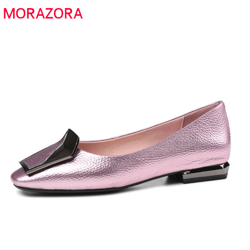 MORAZORA 2020 new fashion shoes woman square toe genuine leather summer shoes shallow elegant comfortable flat
