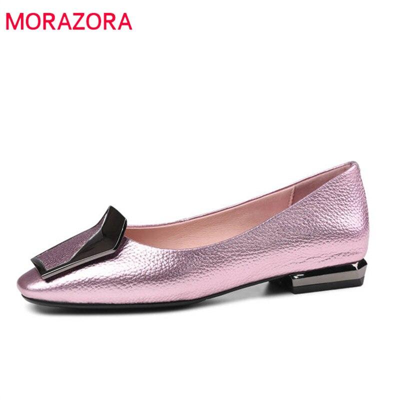 MORAZORA 2018 nouvelles chaussures de mode femme bout carré en cuir véritable chaussures d'été peu profonde élégant confortable chaussures plates femme