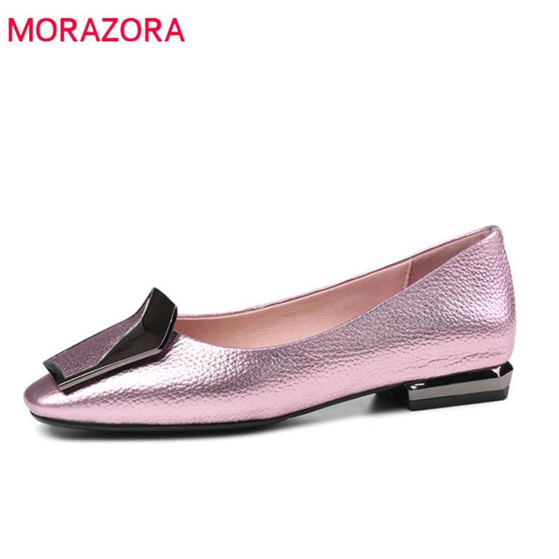 MORAZORA 2020 nieuwe mode schoenen vrouw vierkante neus echt leer zomer schoenen ondiepe elegante comfortabele platte schoenen vrouw-in Platte damesschoenen van Schoenen op  Groep 1