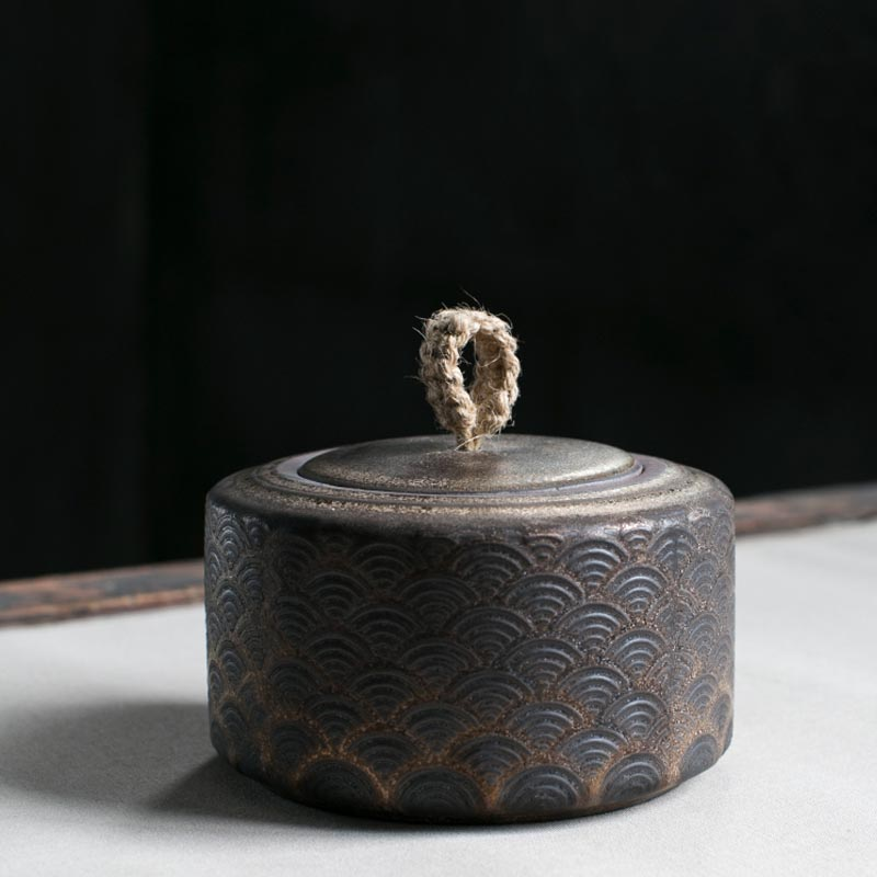 Vintage en céramique grossière poterie pot à thé sceau stockage Caddy Art thé boîte haricots boîtes réservoir Teaware accessoires artisanat décor conteneur