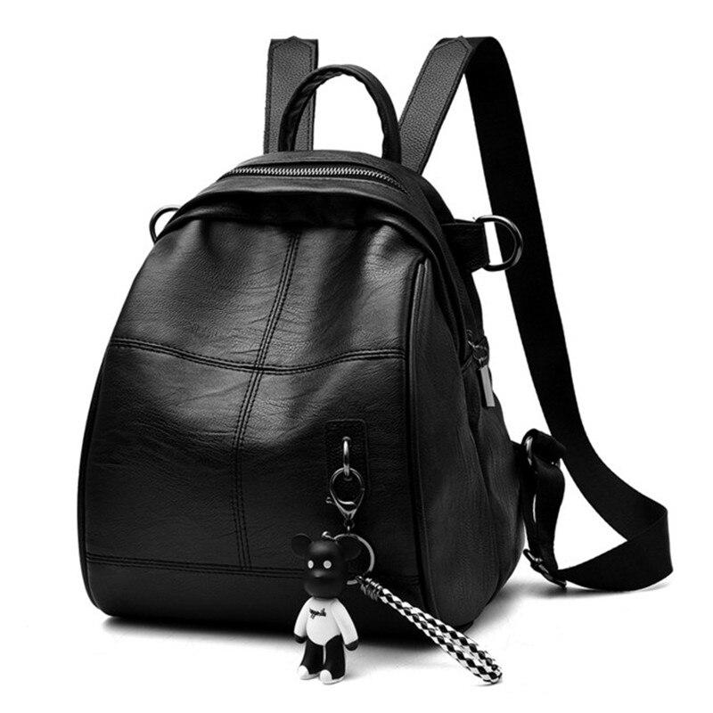 Female bag dual-shoulder backpack high-quality pu skin 2018 new fashion style simple backpack female waterproof back bagFemale bag dual-shoulder backpack high-quality pu skin 2018 new fashion style simple backpack female waterproof back bag