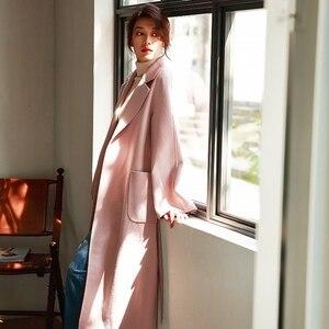 Image 4 - Irinaw901 nova chegada 2020 estilo clássico robe com cinto longo artesanal dupla face lã cashmere casaco feminino