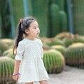 Девушка платье принцессы костюмы девушки пляж платья точки европейские дети летний стиль печатных ребенка костюм девушки дети платье с длинным