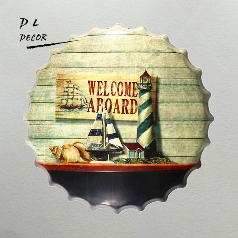 DL WELCOME A BOARD Mediterranean Bottle Cap Wall Painting Retro Metal Tin sign Bar Home Party Plaque Decor