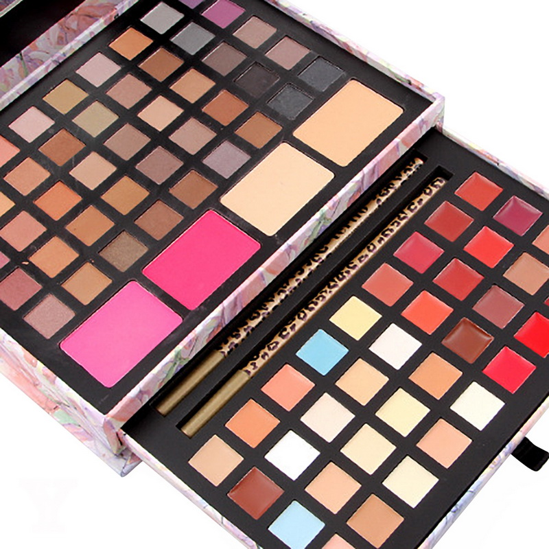 MISS ROSE Matte Glitter Shimmer Eye Shadow Palette Eyeshadow Highlighter Bronzer Blush Eyebrow Powder Makeup Box With Mirror miss rose plate of the piano box eye shadow makeup of dumb light of pearl tray blush powdery cake grooming powder cosmetics box