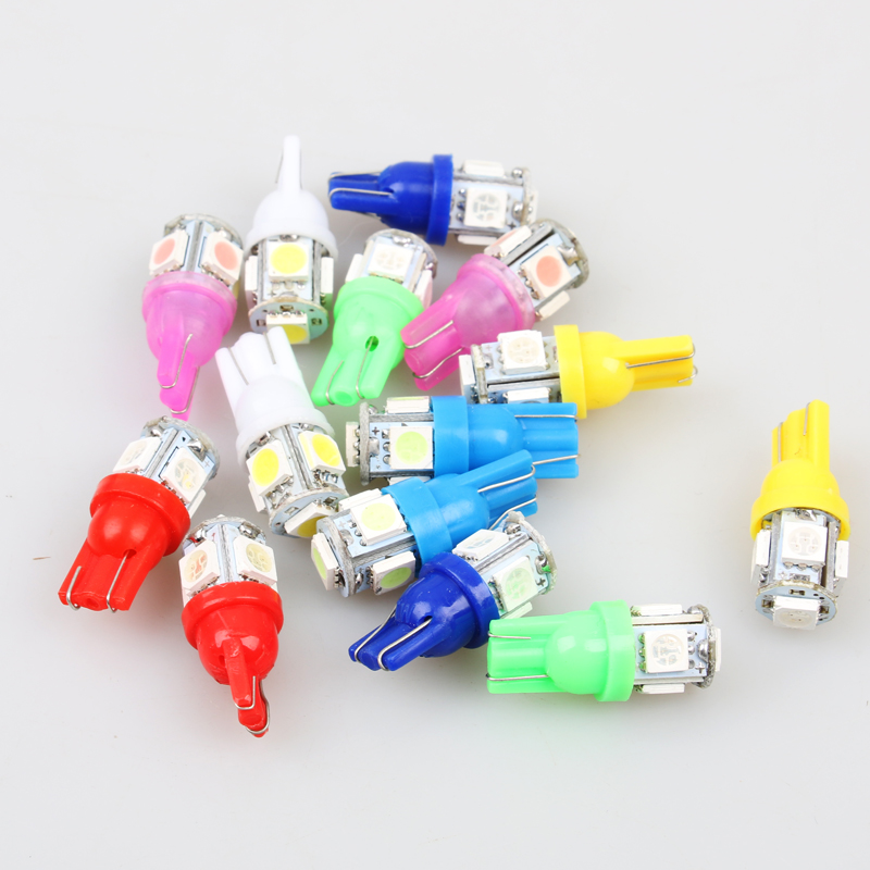 1pcs Auto T10 5 LED 1W 5050 W5W Wedge Door Parking Bulb Light Car 5W5 LED Dome Festoon C5W C10W License Plate Light car-styling 5 1w led bulb with ceramic housing