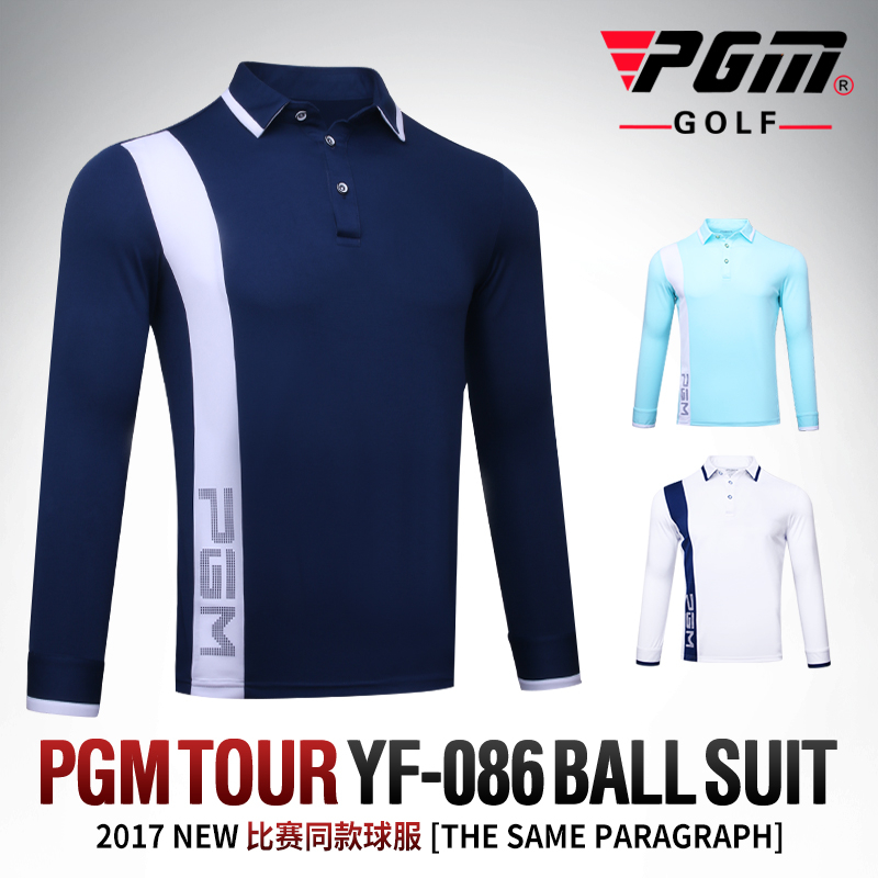 PGM men golf shirts sports tops match clothing long Sleeve mens golf apparel autumn jersey quick dry polo shirt 4 colors