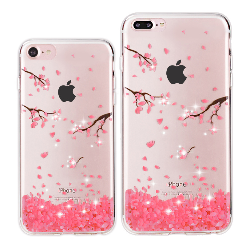 detailed look 1d6a5 86706 US $3.99 |For iPhone 7 Case Luxury Bling Crystal Cover for iPhone 7 7Plus  Silicone TPU Clear Coque Cherry Blossom Soft Fundas 7 Case Cover-in Fitted  ...