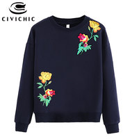 CIVICHIC Classic Women Floral Embroidery T shirt Retro Stylish Cotton Tops Wear O Neck Loose Pullover Vintage Patched Tees WLT15