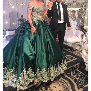Turquesa verde oscuro fuera del hombro Quinceañera vestidos encaje aplique dorado vestidos fiesta graduación de satén dulce 16 vestidos formales
