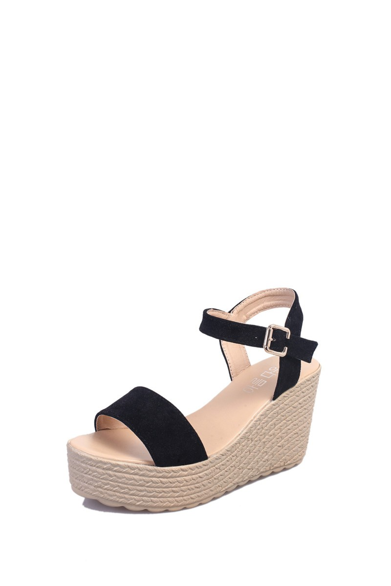 2016 new summer women wedges sandals Thick Soled Shoes Solid 4 colors open toe Women Ladies Sandals HSD06 (5)