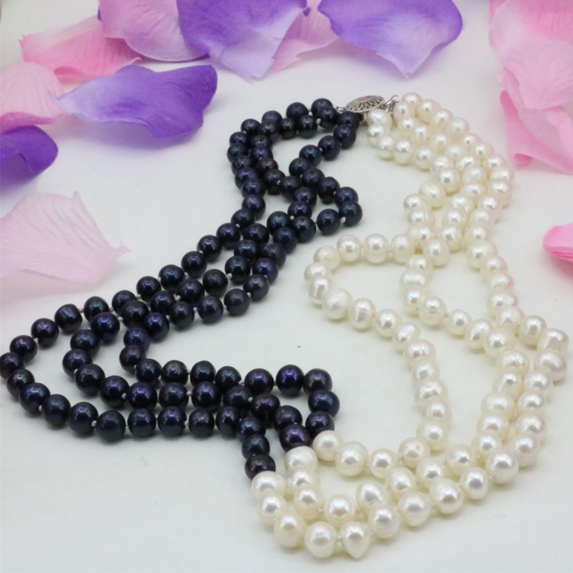 Fashion 3 rows natural 7-8mm white black freshwater cultured nearround beads necklace chain prom weddings gifts 17-19inch B3238