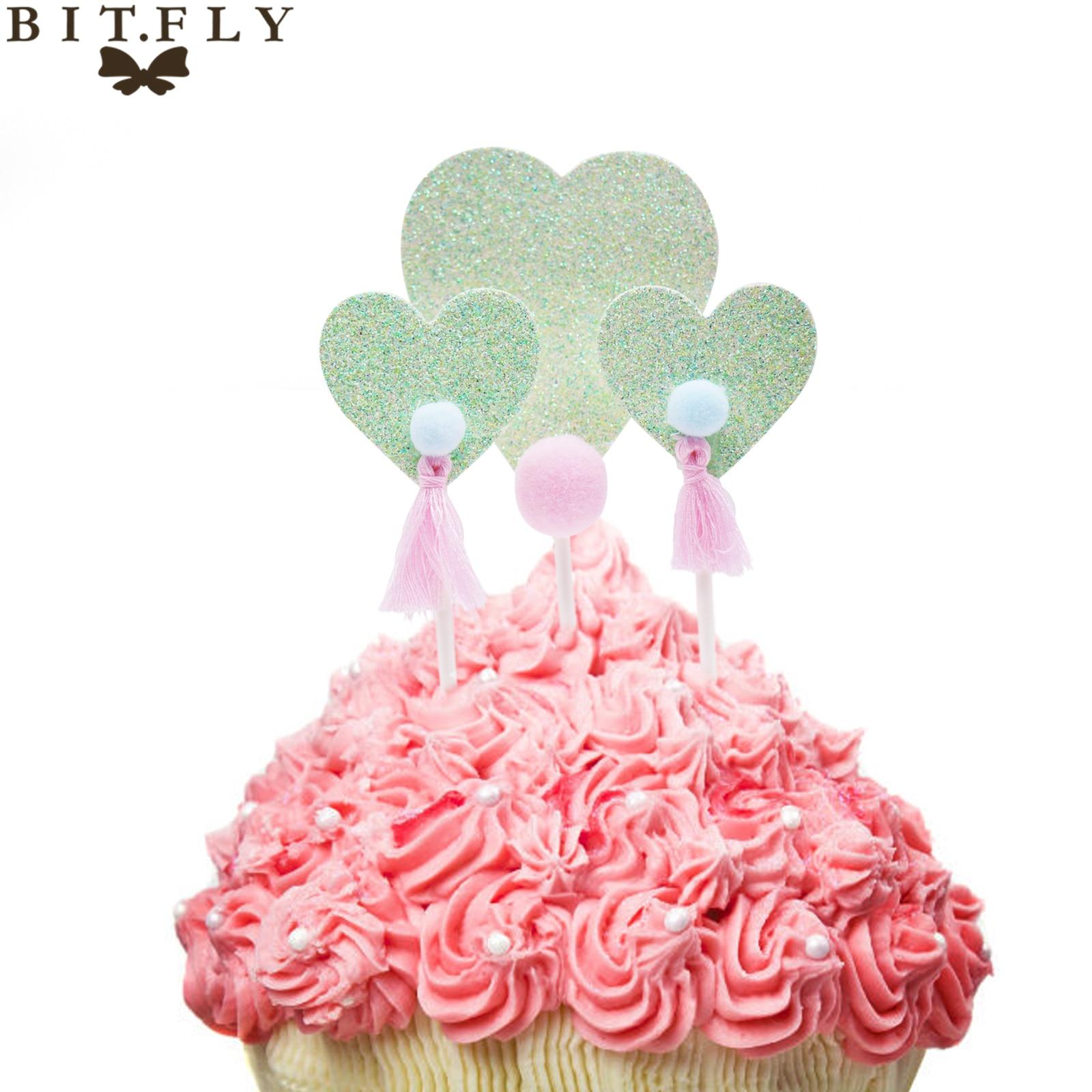 BITFLY 3pcs Lovely Heart Cupcake Toppers Birthday Cakes Flag Kids