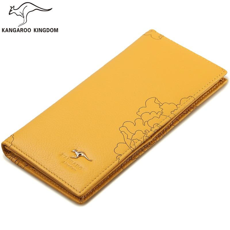 Kangaroo Kingdom Famous Brand Women Wallets Long Genuine Leather Wallet Purse Ladies