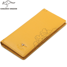 Кенгуру Королевство известного бренда женские кошельки Длинные натуральная кожа бумажник кошелек дамы