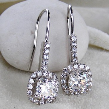 Luxury 1 Carat Princess Cut Simulated Diamond Halo Drop Earrings 925 Sterling Silver Platinum Plated Wedding Match In From Jewelry