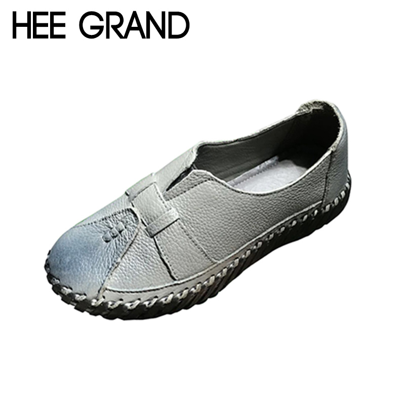HEE GRAND 2018 New Fashion Flats Shoes Women Oxfords Heels Soft Leather Solid Mother Causal Slip-on British Style Shoes XWD6924 hee grand pointed toe pumps british style med heels patchwork t strap oxfords shoes woman casual vintage pump shoes xwd2469