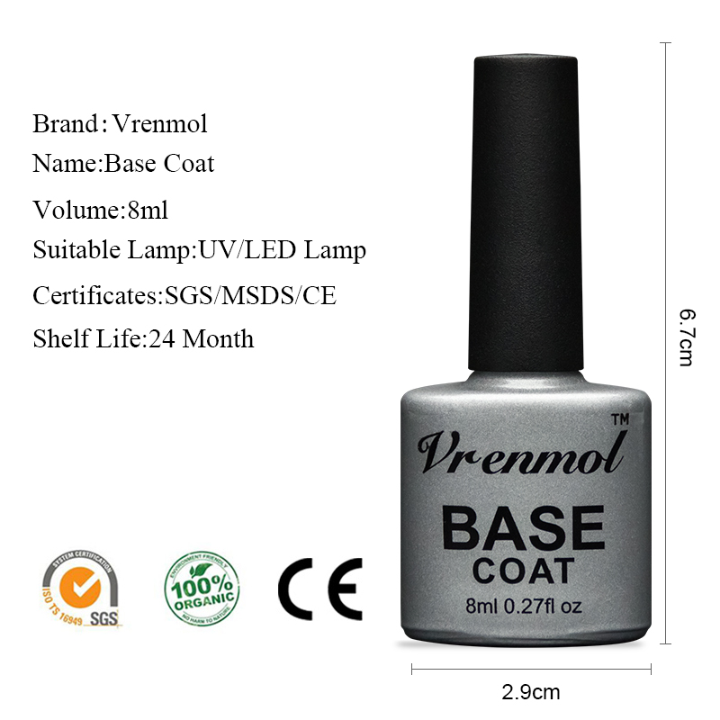 Vrenmol 8ml No Clean Top Base Coat Gel Lacquer Soak Off Nail Art Manicure Primer Esmaltes Varnishes UV Nail Polish in Nail Gel from Beauty Health