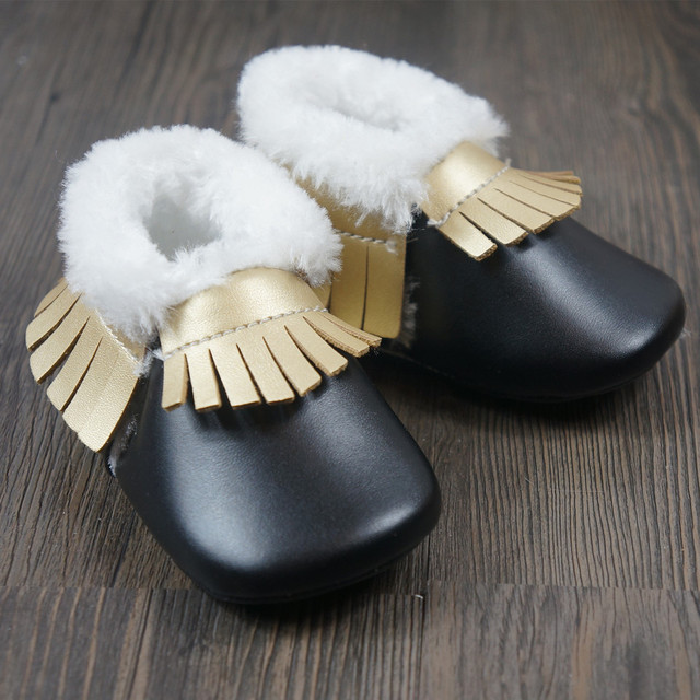 0cfb99c4af7e New Baby shoes First Walkers with Fur Toddler PU baby moccasins winter  fringe thicken boy girls
