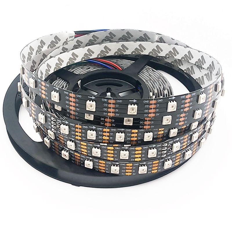 5m 36/60/96 leds / m APA102 60led / M 5050 RGB Қара Толық - LED Жарықтандыру - фото 3