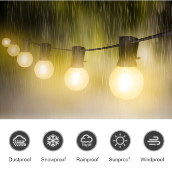 Luces De Crecimiento Led | Tira De Luces LED Al Aire Libre Impermeable IP65 18Ft/25Ft G40 Bombillas De Filamento LED Globo Para Patio Jardín Porche Patio Trasero Fiesta De Navidad
